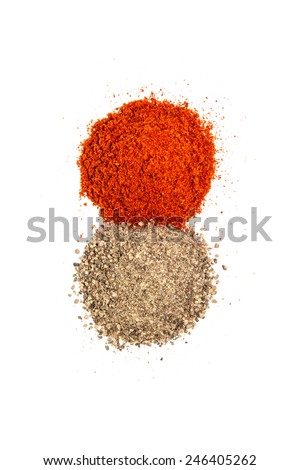 Piles of red and black pepper powder