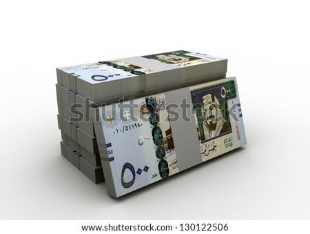 piles of Saudi money on isolated white background - stock photo