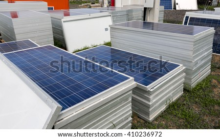 Piles of solar cells ready for installation