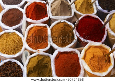 Piles of spices for sale, Anjuna Market - Goa - stock photo