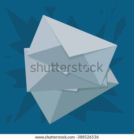 Piles of three envelopes - stock photo