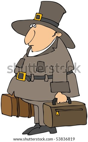 Pilgrim Carrying Suitcases
