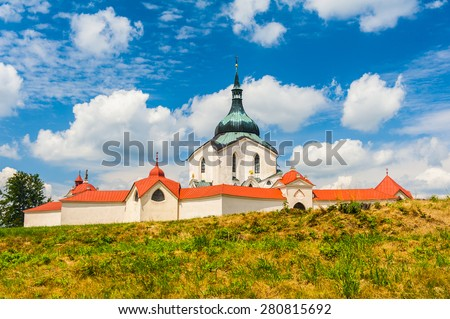 Pilgrimage church of Saint John of Nepomuk at Zelena Hora, Zdar nad Sazavou, Czech Republic is the final work of a famous baroque architect Jan Santini Aichel - stock photo