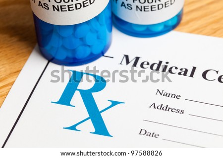 Pill Bottle and Prescription, concept for Healthcare And Medicine - stock photo