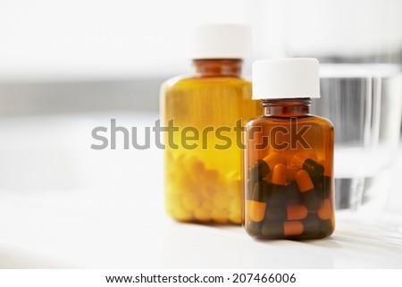 Pill Bottles - stock photo