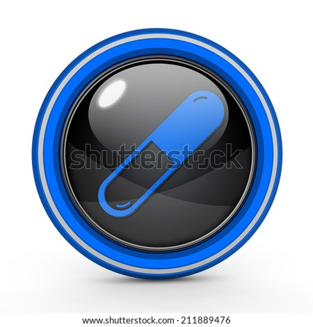 Pill circular icon on white background