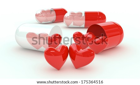 pill filled with hearts - stock photo