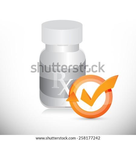 pill jar check mark cycle illustration design over white - stock photo