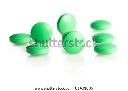 Pill medicament on white background