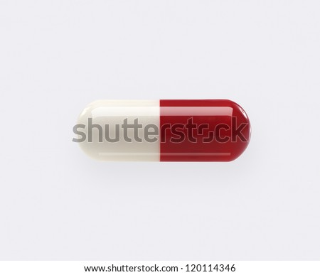 Pill. Single, Red and White, Isolated on White Background - stock photo