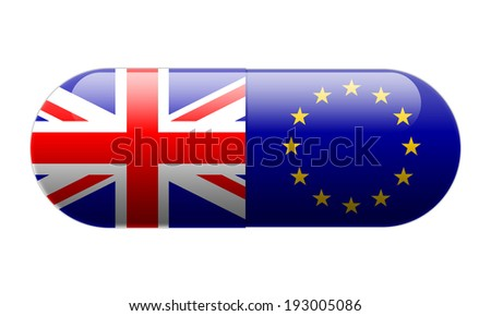 Pill wrapped in Union Jack and European Union Flags - stock photo