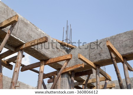 pillar and beam being constructed at the construction site