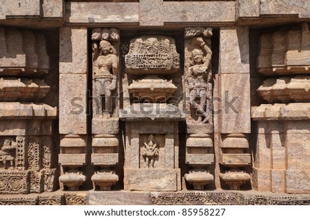 Pillars and sculptures, Sun temple konark - stock photo