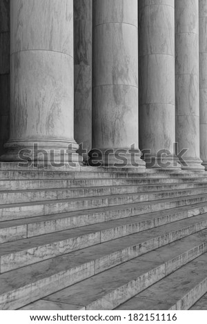 Pillars and Steps in Black and White - stock photo