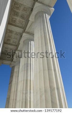Pillars at Lincoln Memorial - stock photo