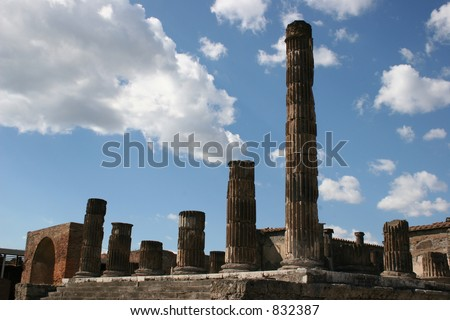 Pillars at Pompeii, Italy.  Dates back to 79 AD. - stock photo