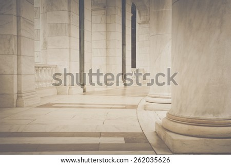 Pillars in a Hallway in Retro Instagram Style - stock photo