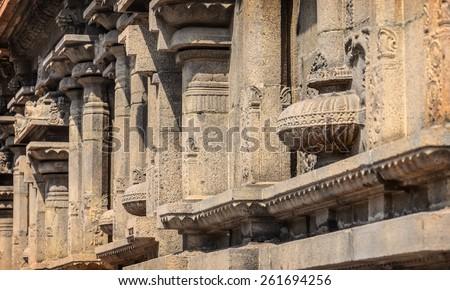 Pillars in the indian Kapaleeswarar temple , Chennai, India - stock photo