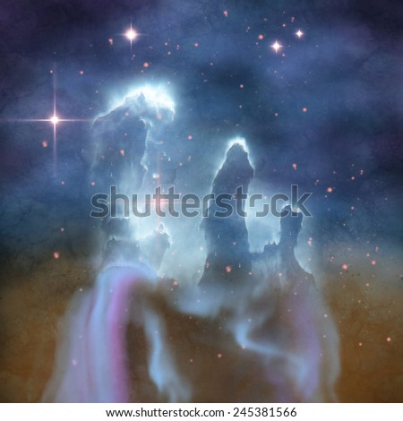 Pillars of Creation - Pillars of Creation are part of the Eagle Nebula and are made of interstellar dust and gases. - stock photo