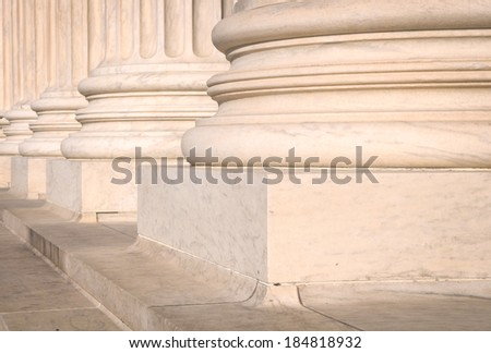 Pillars of Law and Information at the United States Supreme Court in Washington DC - stock photo