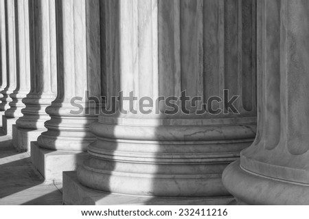 Pillars of the Supreme Court of the United States of America - stock photo