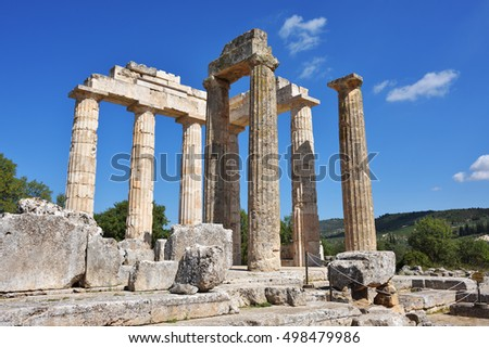 Pillars of the temple of Zeus in the ancient Nemea, Greece