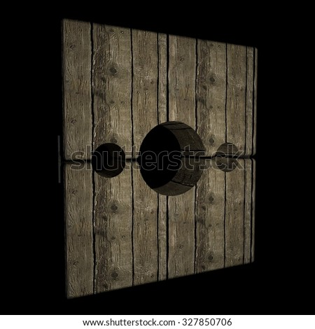 Pillory in darkness, 3d render, square image - stock photo