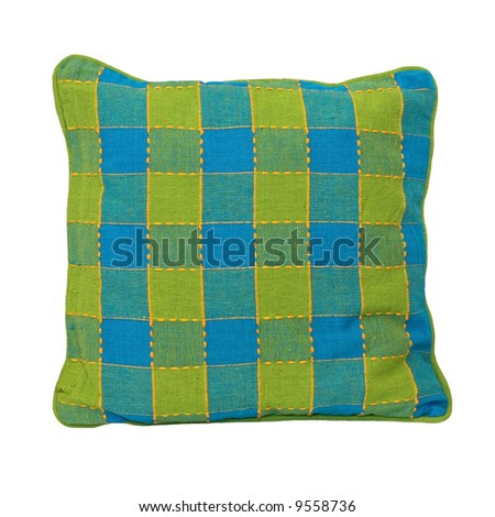 Pillow blue and green isolated on white