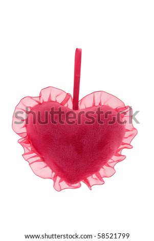 Pillow in the form of heart isolated on the white - stock photo