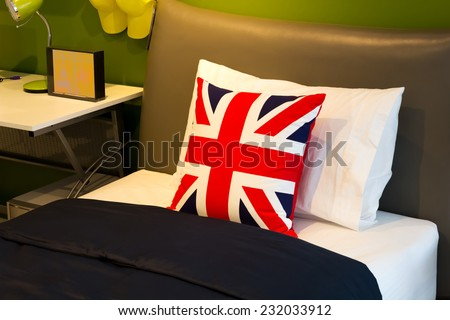 pillow on single bed, modern design for teenager