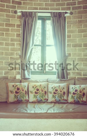 Pillow on sofa decoration in livingroom interior - Vintage Filter - stock photo