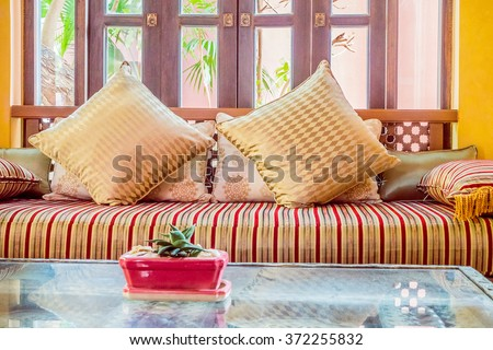 Pillow On Sofa Decoration Interior With Morocco Style   Vintage Filter Part 81