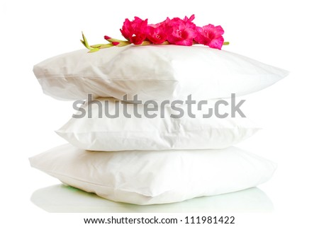 pillows and flower, isolated on white - stock photo
