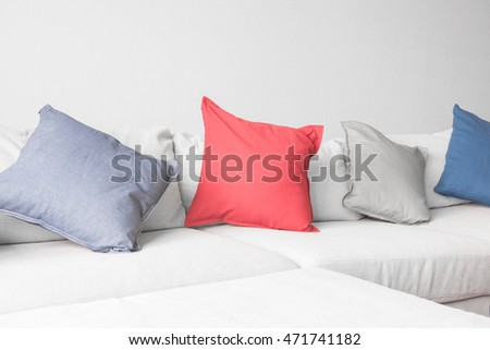 Pillows colorful on Sofa in room