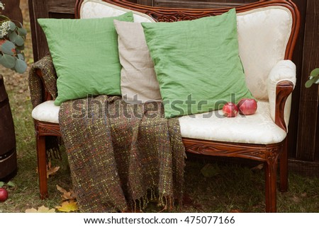 pillows on a bed Comfortable soft pillows on a vintage beatiful sofa