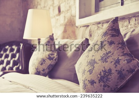 Pillows on an antique luxury bed - stock photo
