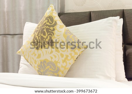 pillows on clean bed