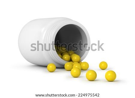 pills an pill bottle on white background - stock photo