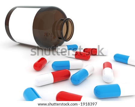 Pills and Bottle - stock photo