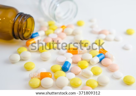 Pills and capsules close-up