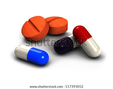 Pills and capsules, 3D render - stock photo