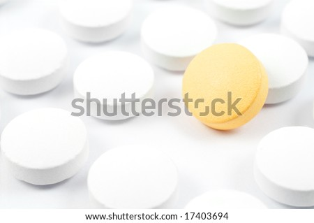 pills and drugs isolated on white