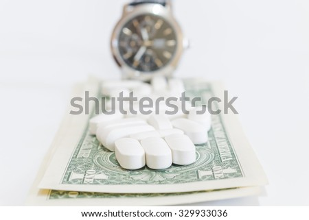 Pills and Money on white background