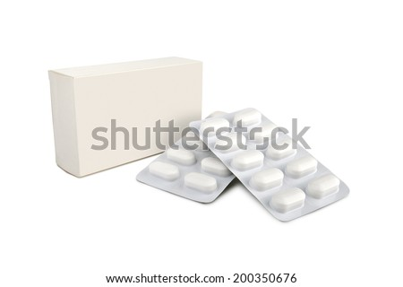 pills blister out of the box over white background with shadow - clipping path - stock photo