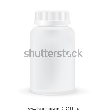 Pills box. White medical container.  Raster version. Illustration isolated on white background.