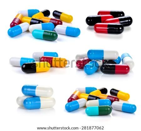 pills capsules isolated on white background - stock photo