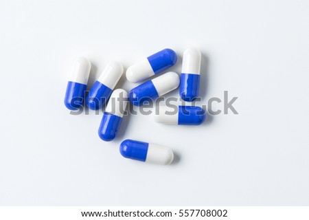 pills capsules isolated on white background