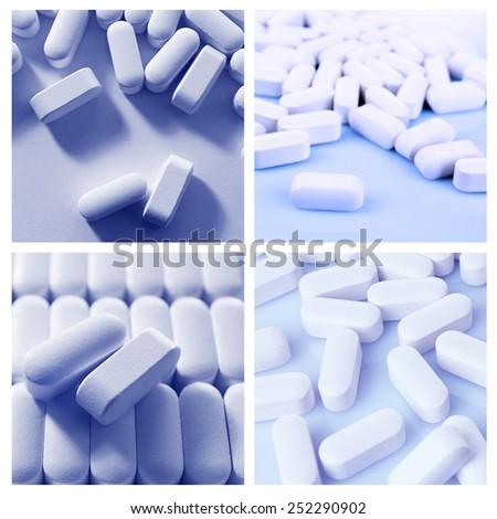 Pills collage - stock photo