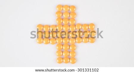 pills/drug on white table - stock photo