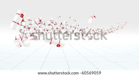 Pills floating in a white space - stock photo